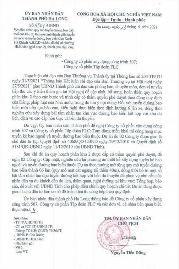 Văn bản chỉ đạo của Thành Phố Hạ Long