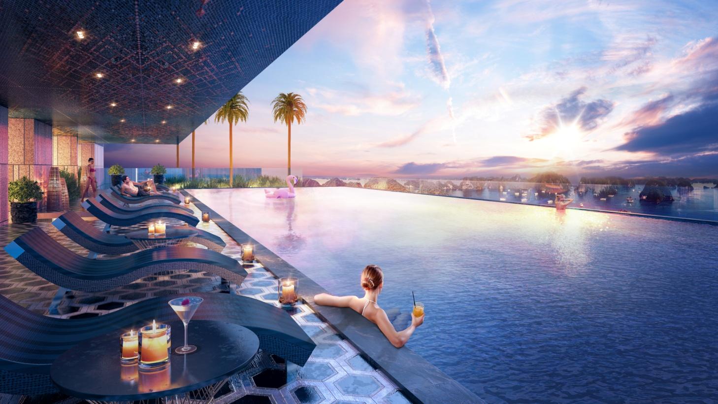 Skybar cao nhất Hạ Long, bể bơi vô cực bốn mùa,… là những tiện ích nổi bật dành cho cư dân Green Diamond.